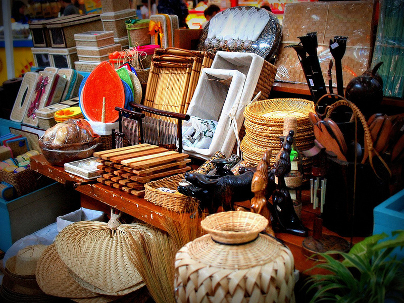 native fans, tissue boxes, wooden scratcher, native jar, Davao City